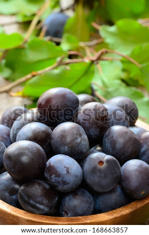 Plums in bowl on the wooden table, close up view - stock photo
