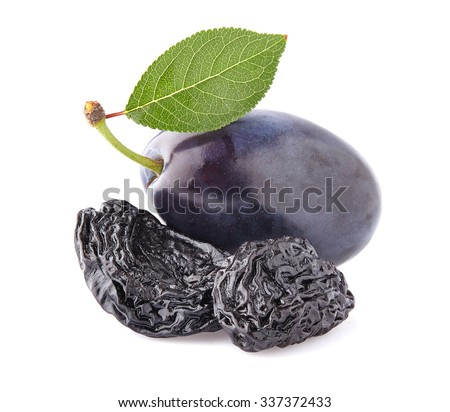 Plums with leaves - stock photo