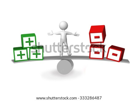 plus minus, advantages disadvantages - human character balance - stock photo