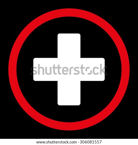 Plus raster icon. This rounded flat symbol is drawn with red and white colors on a black background. - stock photo