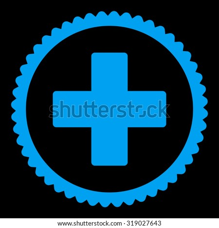 Plus round stamp icon. This flat glyph symbol is drawn with blue color on a black background. - stock photo
