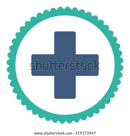 Plus round stamp icon. This flat glyph symbol is drawn with cobalt and cyan colors on a white background. - stock photo