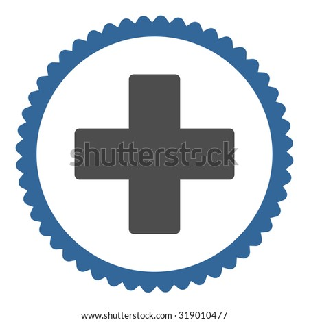 Plus round stamp icon. This flat glyph symbol is drawn with cobalt and gray colors on a white background. - stock photo