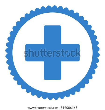 Plus round stamp icon. This flat glyph symbol is drawn with cobalt color on a white background. - stock photo