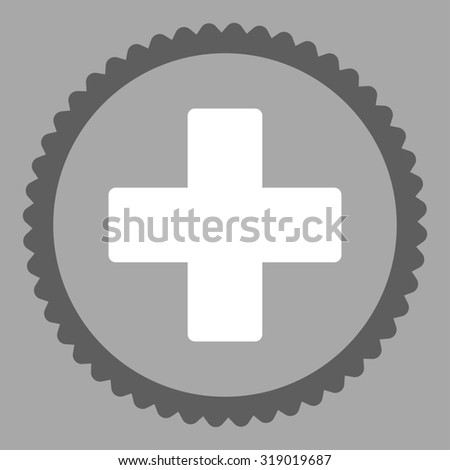 Plus round stamp icon. This flat glyph symbol is drawn with dark gray and white colors on a silver background. - stock photo