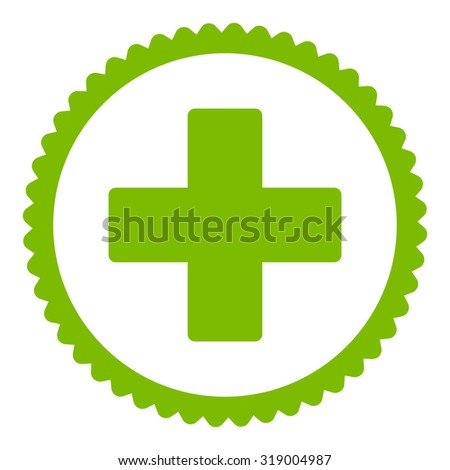 Plus round stamp icon. This flat glyph symbol is drawn with eco green color on a white background. - stock photo