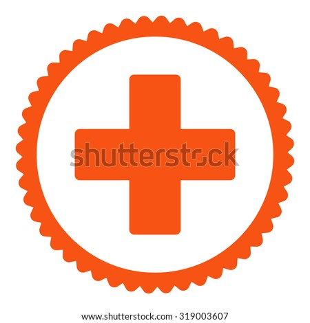 Plus round stamp icon. This flat glyph symbol is drawn with orange color on a white background. - stock photo