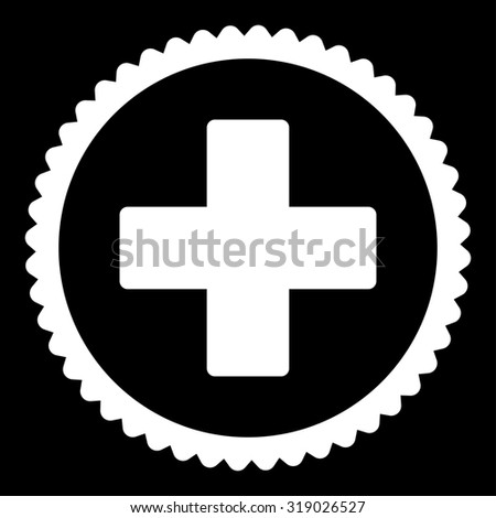 Plus round stamp icon. This flat glyph symbol is drawn with white color on a black background. - stock photo