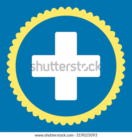 Plus round stamp icon. This flat glyph symbol is drawn with yellow and white colors on a blue background. - stock photo