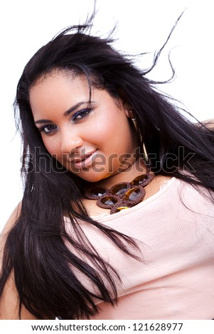 Plus size model posing like fashion models. The woman is posing in a sexy manner. - stock photo