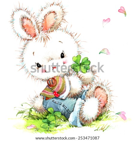 Plush bunny and lucky clover. watercolor - stock photo