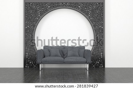 Plush Grey Love Seat with Cushions in front of Decorative Metal Arch in Room with White Wall and Dark Floor. 3d Rendering. - stock photo