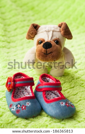 Plush puppy and a little baby shoes. - stock photo