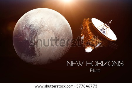 Pluto - New horizons spacecraft. This image elements furnished by NASA. - stock photo