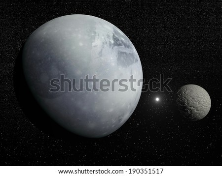 Pluton, its big moon Charon and Polaris star in dark starry background - Elements of this image furnished by NASA - stock photo