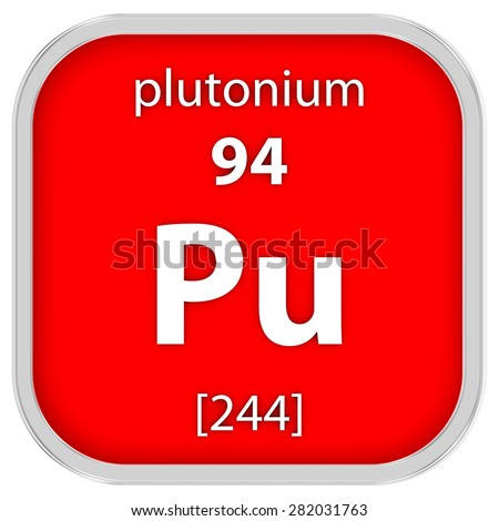 Plutonium material on the periodic table. Part of a series. - stock photo