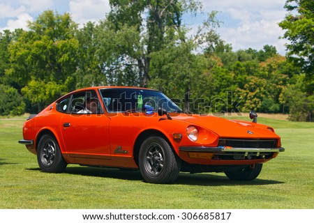 PLYMOUTH - JULY 26: A vintage Datsun Fairlady Z on display July 26, 2015 at the Councors D'Elegance in Plymouth, Michigan. - stock photo