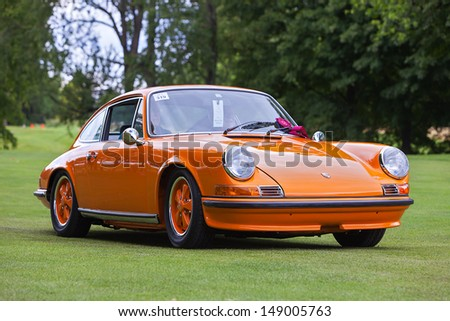 PLYMOUTH - JULY 28: A vintage Porsche 911s at the 2013 Concours D'Elegance  July 28, 2013 Plymouth, Michigan. - stock photo