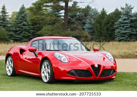 PLYMOUTH - JULY 27: An Alfa Romeo supercar on display July 27, 2014 at the Concours D' Elegance Plymouth, Michigan. - stock photo