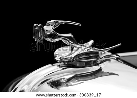 PLYMOUTH - JULY 26: An antelope hood ornament on a Chrysler Imperial July 26, 2015 at the Councors D'Elegance in Plymouth, Michigan. - stock photo