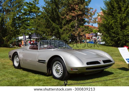 PLYMOUTH - JULY 26: 1966 Bizzarrini Spyder on display July 26, 2015 at the Councors D'Elegance in Plymouth, Michigan. - stock photo
