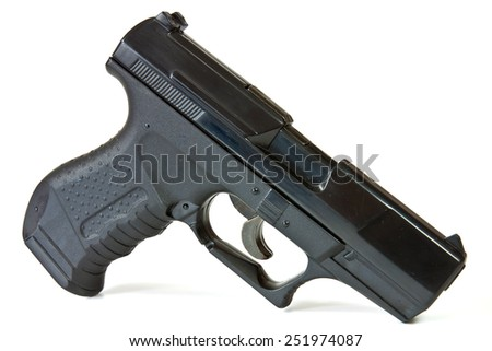 Pneumatic air pistol model replica of the battle for training and entertainment. - stock photo