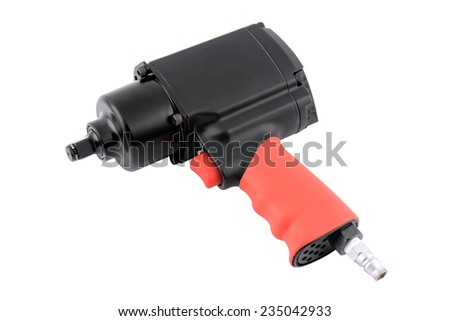 Pneumatic wrench isolated over white background - stock photo