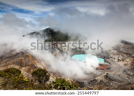Poás volcano crater in costa rica - stock photo