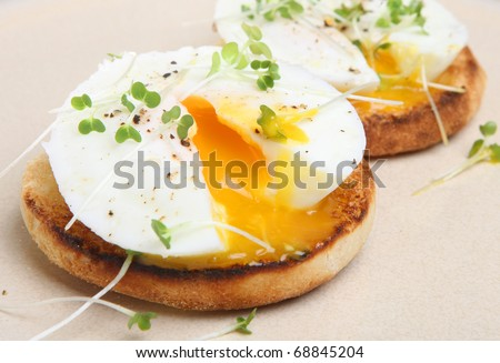 Poached eggs on toasted English muffin. - stock photo