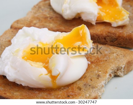 Poached eggs on wholemeal toast - stock photo