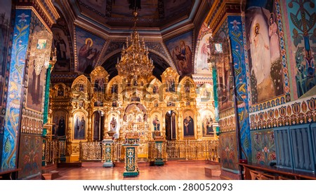 Pochaiv, Ukraine - may 13, 2015 view inside church of the Holy Spirit Cathedral, Orthodox monastery located in Pochaiv (Ternopil region) - stock photo