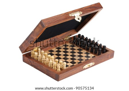 Pocket chess, folded into a box on  white background - stock photo