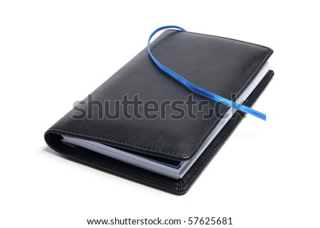 Pocket Diary and Pencil on White Background - stock photo