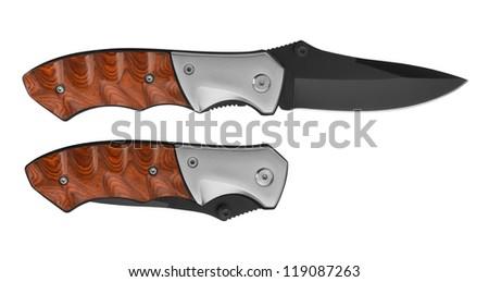 Pocket Knife isolated on white background - stock photo