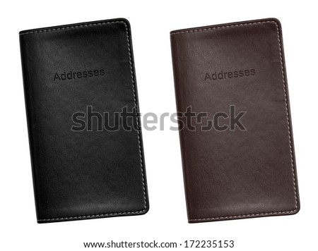 Pocket sized Leather bound address book for organising your personal contacts, emails and addresses. - stock photo
