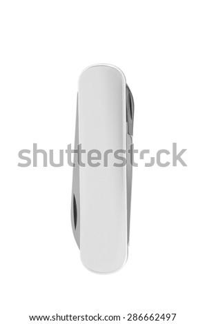 Pocket swiss knife isolated on white - stock photo