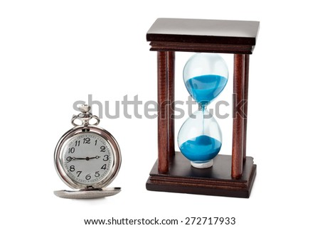 pocket watch and hourglass isolated on white background - stock photo