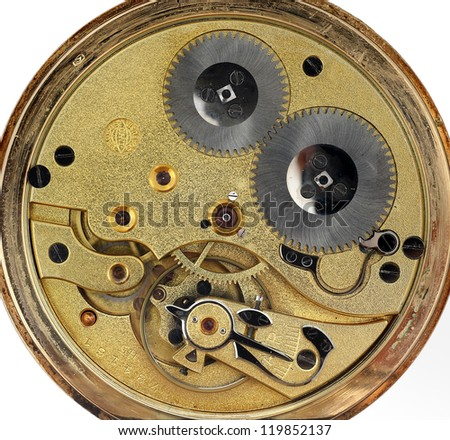pocket watch machinery macro detail isolated in white - stock photo