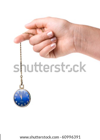 Pocket watch on the chain , often used for the treatment of hypnosis. - stock photo