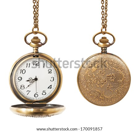pocket watch open and closed  isolated on white background - stock photo