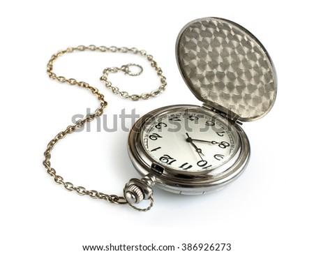 Pocket watch with chain isolated on white - stock photo