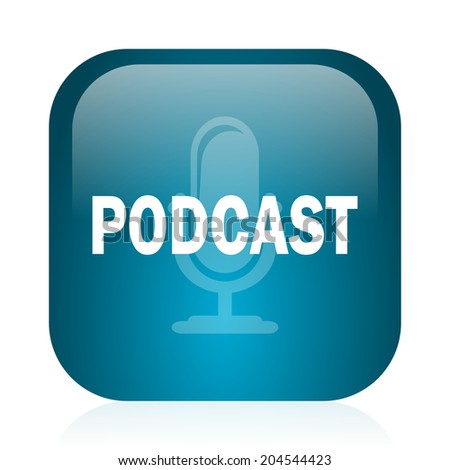 podcast blue glossy internet icon - stock photo