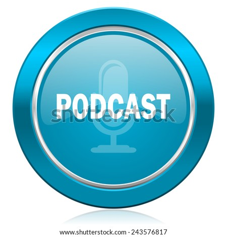 podcast blue icon   - stock photo