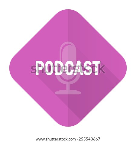 podcast pink flat icon   - stock photo
