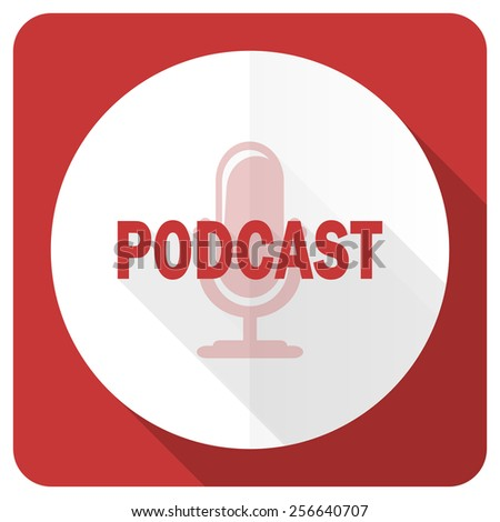 podcast red flat icon   - stock photo