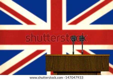 Podium and British Flag - stock photo