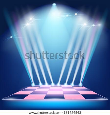 Podium floodlights and spotlights. Raster copy  - stock photo