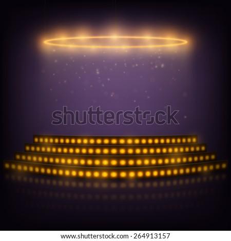 Podium for Performances with Spotlights - stock photo