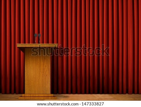 Podium on stage over red curtain - stock photo