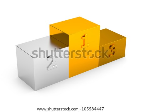 Podium with first, second and third places. Image contain clipping path - stock photo